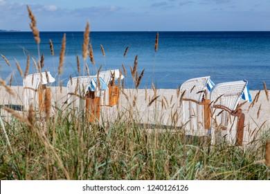 Hooded beach chairs in Haffkrug, Schleswig-Holstein, Germany