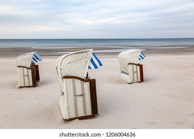 Hooded beach chairs on the beach of Scharbeutz, Germany