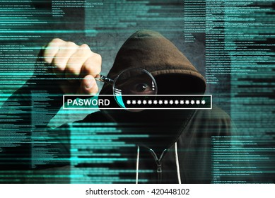 Hooded computer hacker with magnifying glass stealing internet password, online security concept.