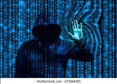 Hooded hacker manipulates a computer program by touching a swirling binary stream