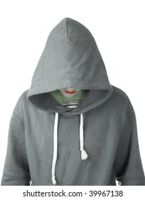 A hooded man with red lips on white