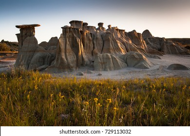 Hoodoos at Theodore Roosevelt National Park at sunrise, ND, USA