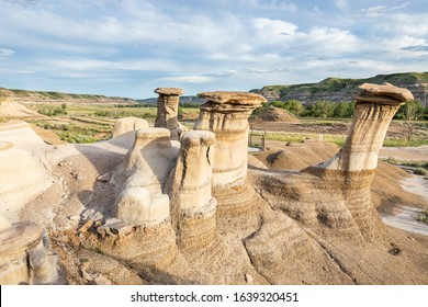 Hoodoos in the valley and canyon of Drumheller