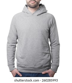 hoody pullover template with male torso isolated on white with clipping path both for background and garment