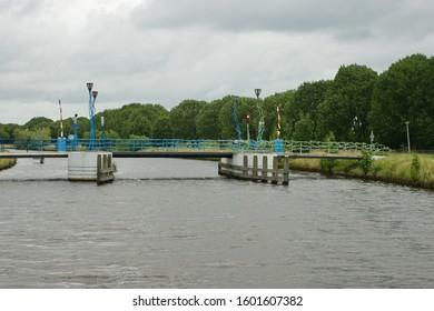 Hoogeveen, The Netherlands - August 04 2017: The Krakeel Bicycle Bridge over the Hoogeveensche Vaart