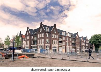 Hoogeveen, the Netherlands - May 5, 2019: new-build luxury Casquette houses in Hoogeveen, the Netherlands