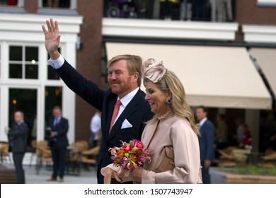 Hoogeveen, the Netherlands - September 18, 2019: Visit of King Willem-Alexander and Queen Maxima to Hoogeveen, the Netherlands
