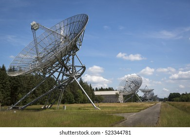 HOOGHALEN, NETHERLANDS - AUGUST 03, 2014: Radio observatory (Westerbork Synthesis Radio Telescope) in the province of Drenthe