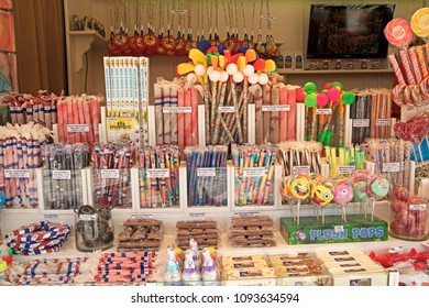 HOOGKARSPEL , THE NETHERLANDS – May 11 , 2018 : Candy stall at the fun fair