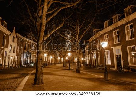 Hooglandse Kerkgracht with streetlights