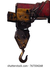 Hook a crane old rusty white background.isolated