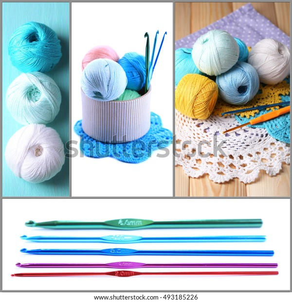 Hook knitting collage. Hobby and handicraft concept.