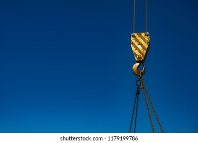 Hook with suspended load on the crane