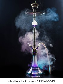 Hookah with black bakcground and smoke