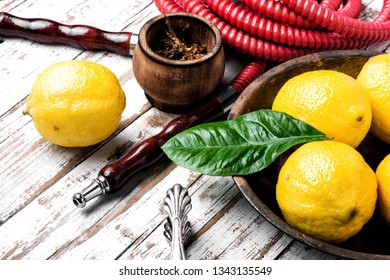 Hookah with fruit aroma for relax.Shisha hookah.Hookah with lemon.Lime tobacco