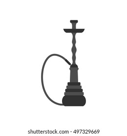 Hookah icon in flat style on a white background  illustration
