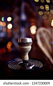 hookah in the restaurant / hookah elements on the background of a blurry interior of the restaurant, a cafe with a bokeh