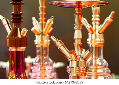 Hookahs. Hookahs for smoking. Accessories for shisha lounge. Hookah bar.