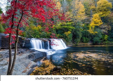 Hooker Falls Waterfall North Carolina with Vibrant Fall Colors
