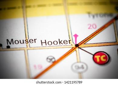Hooker. Oklahoma. USA on a map