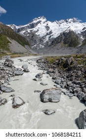 Hooker River emerging from Mueller lake. snow capped mountains and glaciers in the background. From the Hooker Valley Track, Aoraki/Mount Cook National Park New Zealand. Portrait orientation.