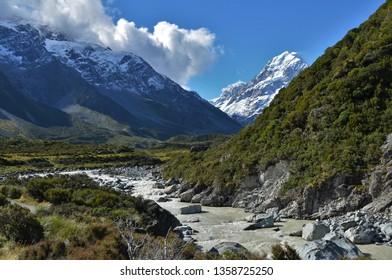 Hooker river in Hooker valley near Mount Cook, Aoraki