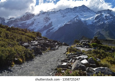 Hooker valley track at Mount Cook, Aoraki in New Zealand