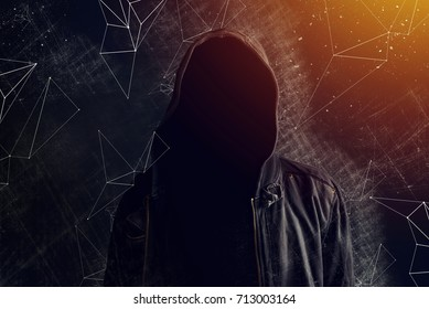 Hooligan without face with hooded shirt, mixed media