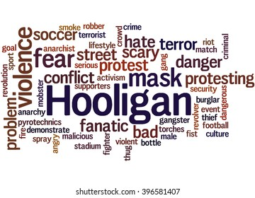 Hooligan word cloud, word cloud concept on white background