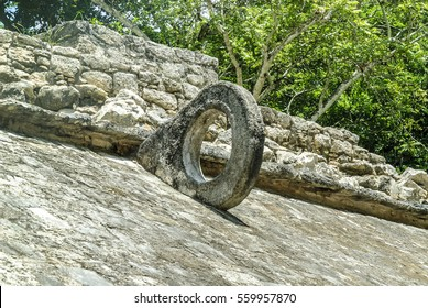 hoop of the game of ball in the archaeological place of Coba, in Qintana Roo, Mexico