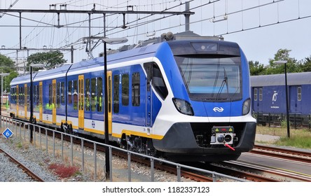 Hoorn / Netherlands - July 6 2018: The new Sprinter train (SNG) for the Dutch Railway organisation NS (Nederlandse Spoorwegen). It is a modern CAF passengers train