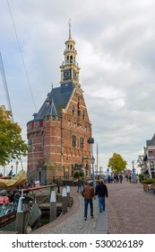 Hoorn, Netherlands - October 08, 2016: Hoofdtoren -main tower- in the harbor of Hoorn, with unidentified people. Hoorn is a harbor town at the Markermeer, dating back to the 12th century