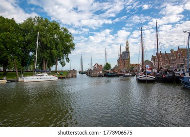 Hoorn, North Holland / Netherlands - June 13, 2020: View of the harbour in Hoorn, Netherlands.