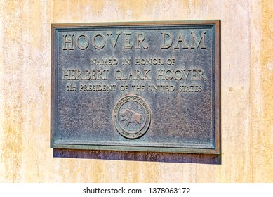 Hoover, Arizona, USA- September 18, 2018: Famous and amazing Hoover Dam. A sign on the wall of the Hoover Dam. USA.