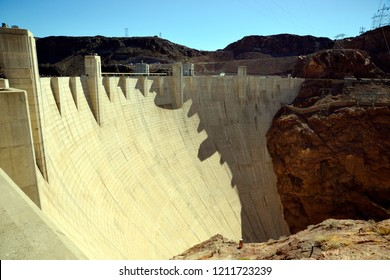 Hoover Dam, Arizona / USA - September 30, 2018: The east side of the Hoover Dam over the Colorado River in Black Canyon.