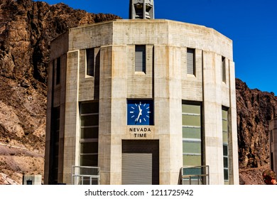Hoover Dam, border of Arizona & Nevada. Hoover Dams Nevada clock on intake tower.