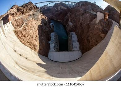 Hoover Dam Fisheye view from the dam and bridge