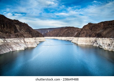 Hoover dam and Lake Mead in Las Vegas area. Hoover Dam is a major tourist attraction on Nevada / Arizona border