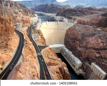 Hoover Dam located in Boulder City, Nevada, USA - as viewed from the Mike O'Callaghan - Pat Tillman Memorial Bridge. The photo was taken in December of 2018.