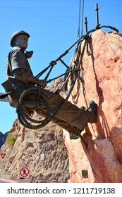 Hoover Dam, Nevada / USA - September 30, 2018: A statue representing one of the workers who constructed the Hoover Dam in the Black Canyon of the Colorado River.