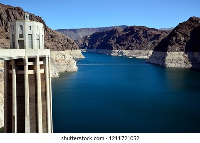 Hoover Dam, Nevada / USA - September 30, 2018: The Colorado River as viewed from the west side of the Hoover Dam.