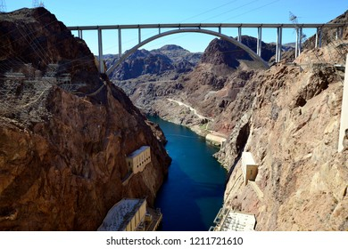 Hoover Dam, Nevada / USA - September 30, 2018: The Colorado River as viewed from the east side of the Hoover Dam.