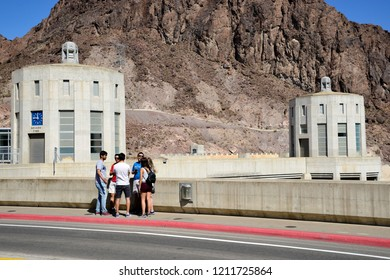 Hoover Dam, Nevada / USA - September 30, 2018: The road over the Hoover Dam over the Colorado River at the Black Canyon.