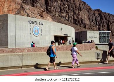 Hoover Dam, Nevada / USA - September 30, 2018: The visitors center of the Hoover Dam over the Colorado River.