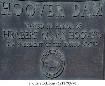 Hoover Dam, Nevada / USA - September 30, 2018: Memorial plaque on the Hoover Dam over the Colorado River.