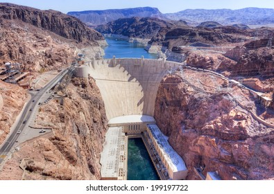 Hoover Dam on Arizona and Nevada border.
