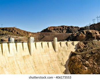 Hoover dam on a sunny summer afternoon.