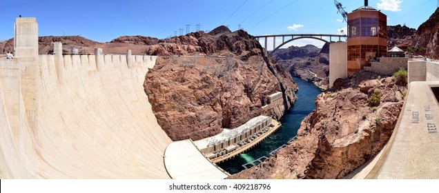 Hoover Dam, panoramic wide-angle view