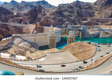 Hoover Dam and its penstock towers in Lake Mead in the Black Canyon of the Colorado River on the border of Arizona and Nevada Taken in 2007