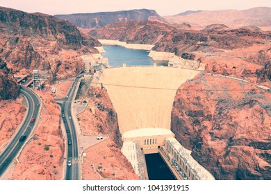 Hoover Dam in United States. Famous hydroelectric power station on the border of Arizona and Nevada.